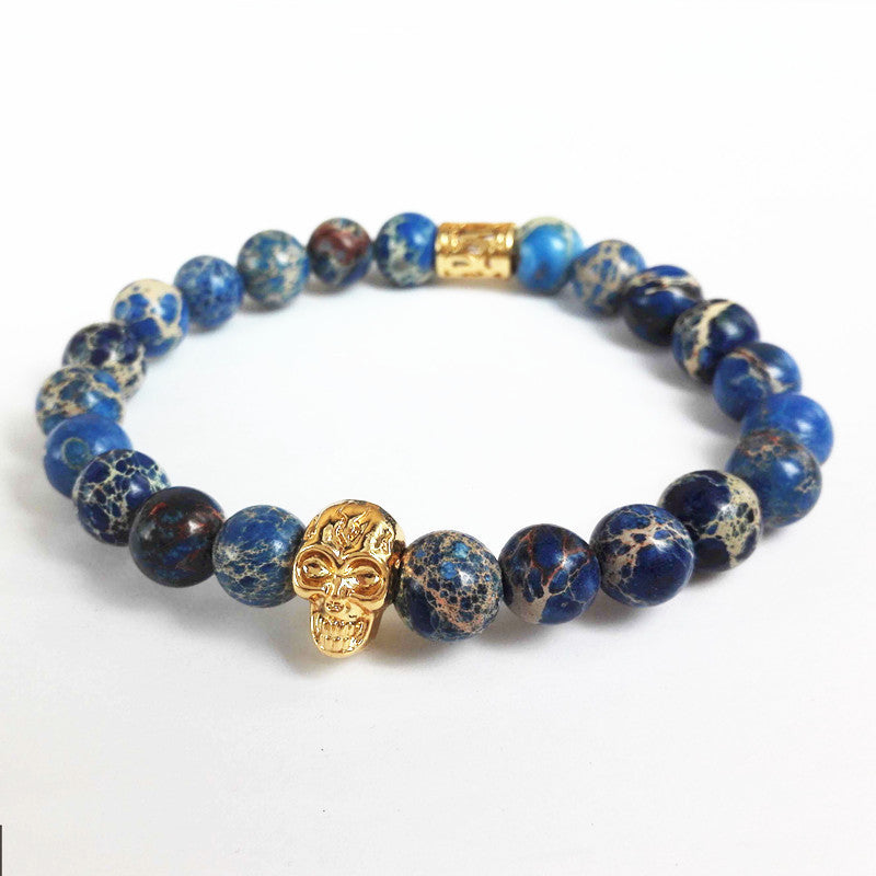 New Design High Grade Men Jewelry 8mm Black Lava stone and Blue Sea Sediment Stone Bead with 24K Gold Skull Bracelet