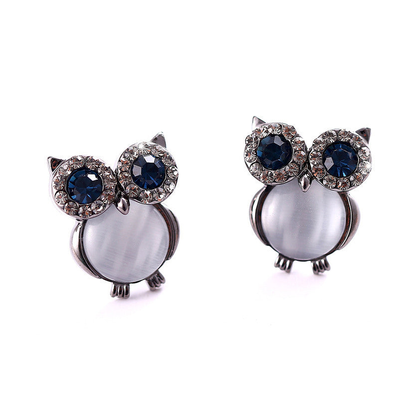 New Design Owl Earrings Zinc Alloy Opal Black Gun Plated And Gold Plated Stud Earrings For Women Fashion Brand Earring Jewelry