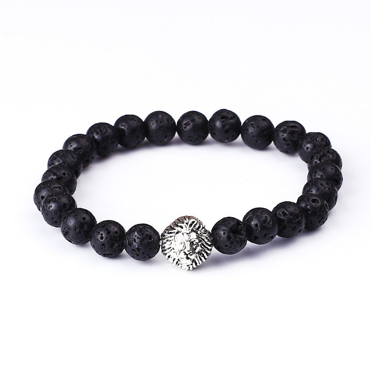 New Design Silver Lion Head Bracelets Lava Stone And Tiger Eye Men Beads Bracelets Mens Gift Men Jewelry