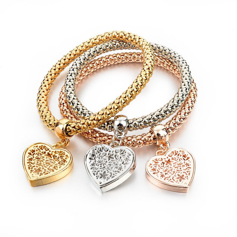 Ethnic Love Heart Charm Bracelets For Women Gold Silver Crystal Chain Bracelets & Bangles With Pendants