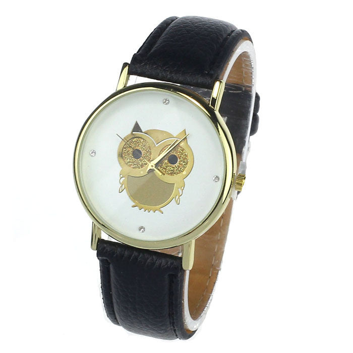 New Fashion Cartoon Owl Style Dress Gold Watch Women Clock Casual Wrist Watch Quartz Watches For Women Mens Gift
