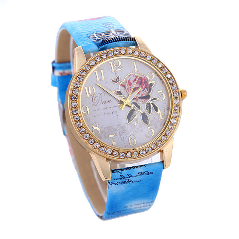 New Fashion Chinese Style Peony Pattern Watch Gilt Digital Quartz Casual Leather Clock Women Dress Cartoon Wristwatch