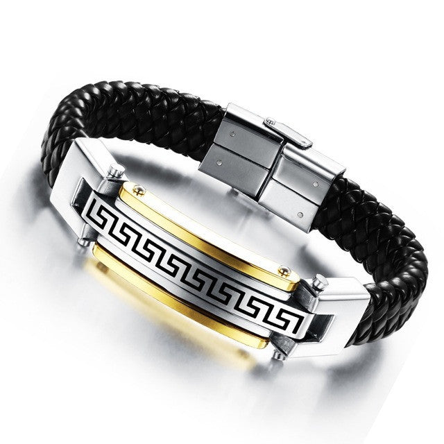 Fashion Fine Jewelry Men Great Wall Leather Stainless Steel Bracelets Vintage Bangles Male Accessories