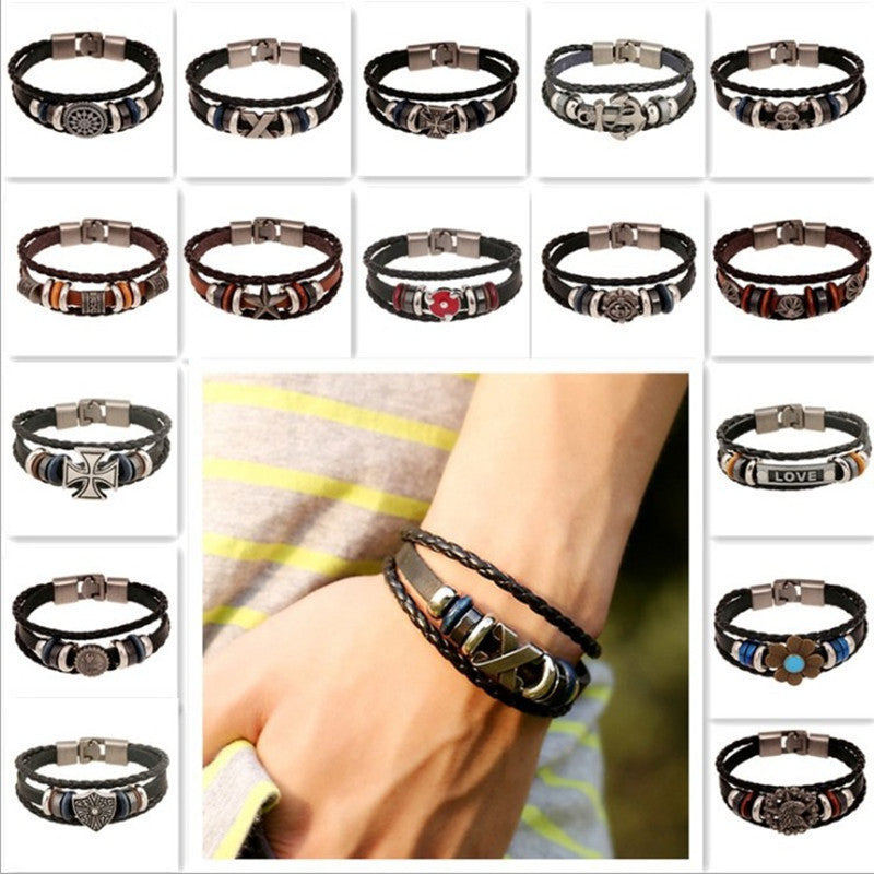 New Fashion Genuine Leather Charm Bracelets For Women Men Vintage Beaded Braided Bracelets Bangles