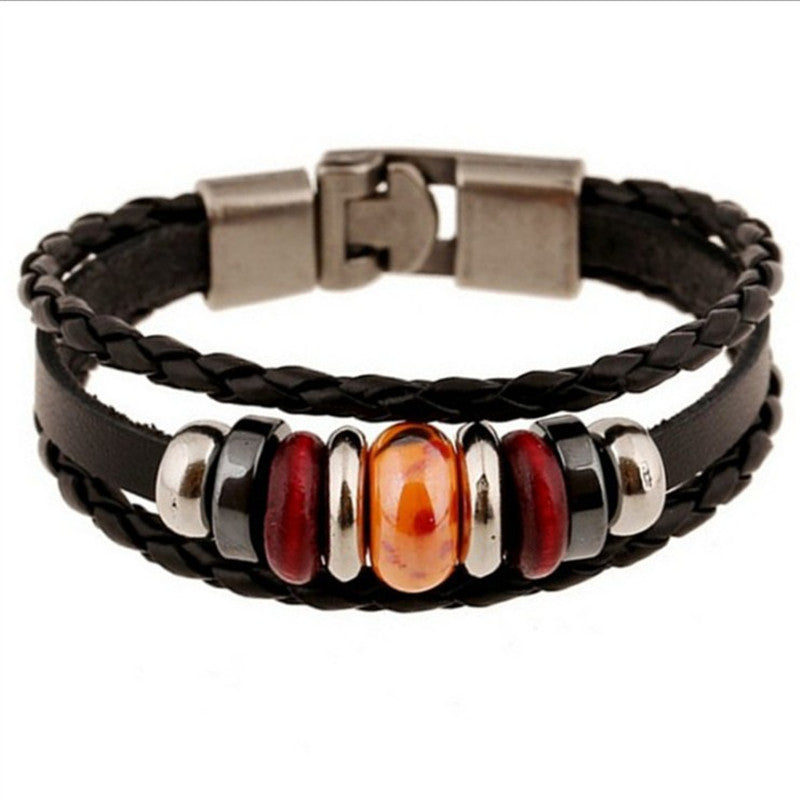 New Fashion Genuine Leather Wrap Bracelets Men Black Cowhide Braided Bracelets Bangles