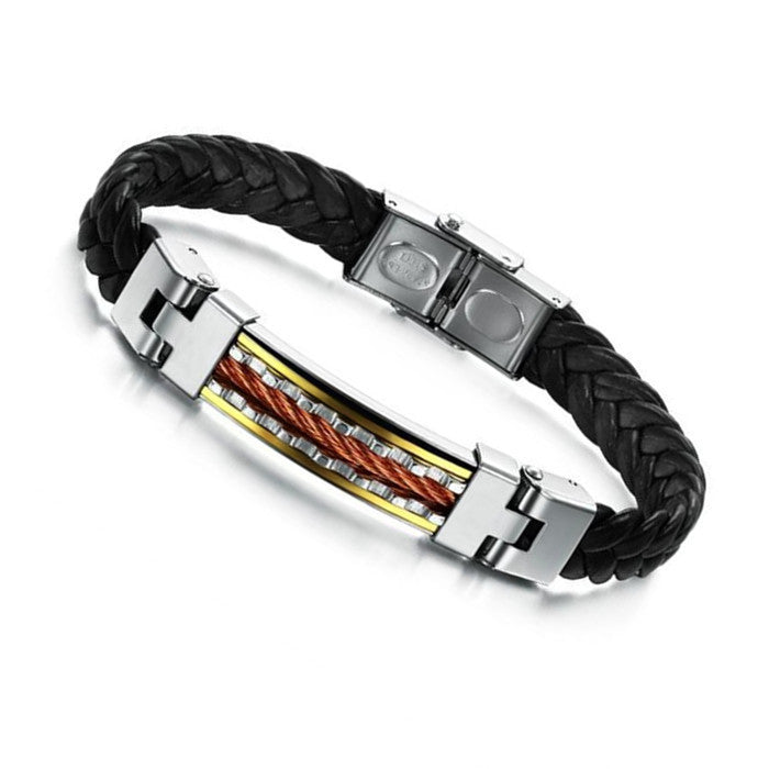 New Fashion Jewelry Stainless Steel Gold plated Pu Leather Bracelet Men Bracelets Bangle For Mens Gift
