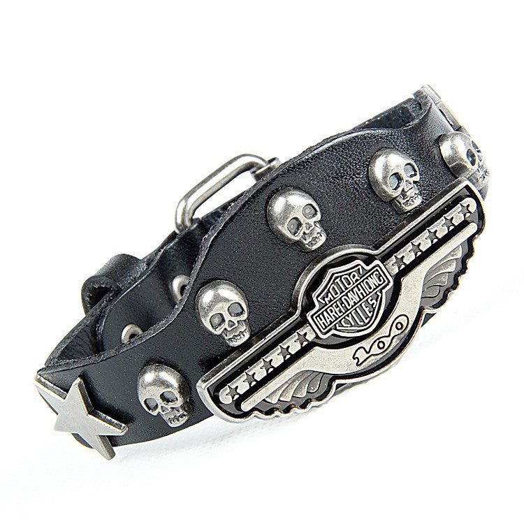 New Fashion Leather bracelet Wrist belt Alloy rivets Casual & Punk style Non-mainstream skull Bracelet