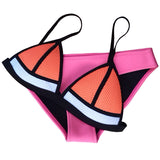 New Fashion Mesh Swimwear Women Sexy Neoprene Bikini Set Neoprene Swimsuit