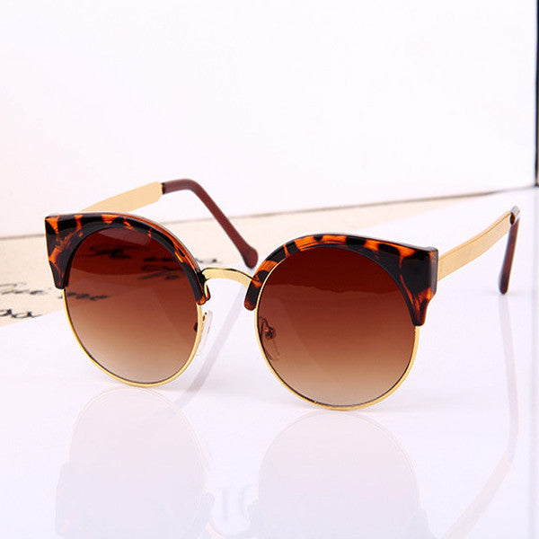 New Fashion Retro Designer Women Round Circle Glasses Cat Eye Semi-Rimless Vintage Sunglasses Goggles