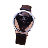 New Fashion Trendy High quality Inverted Triangle Women dress watch Rounded Wristwatches for unisex men leather strap watch