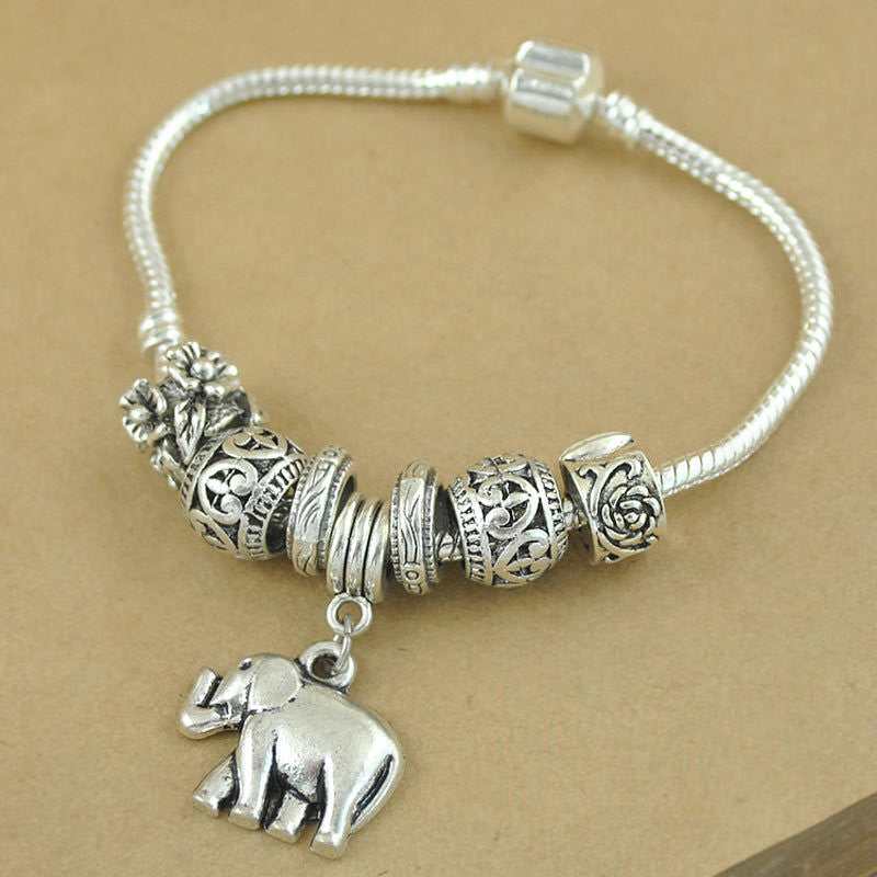 New Fashion Vintage Silver Elephant Beads Bracelets For Women DIY Beads Jewelry