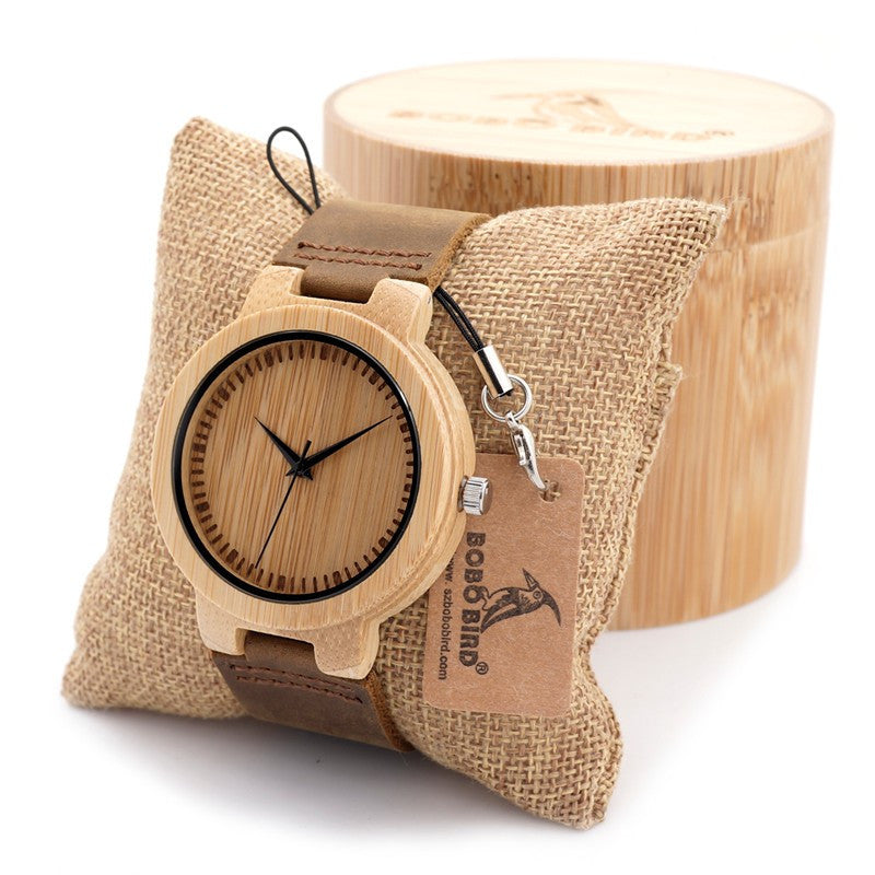 New Fasion japanese miyota 2035 movement wristwatches genuine leather bamboo wooden watches with gift box relogio masculino