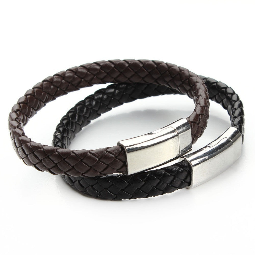New Handmade Black & Brown Genuine Braided Leather Bracelet Magnetic Clasps Bracelets & Bangles for Men Pulseiras