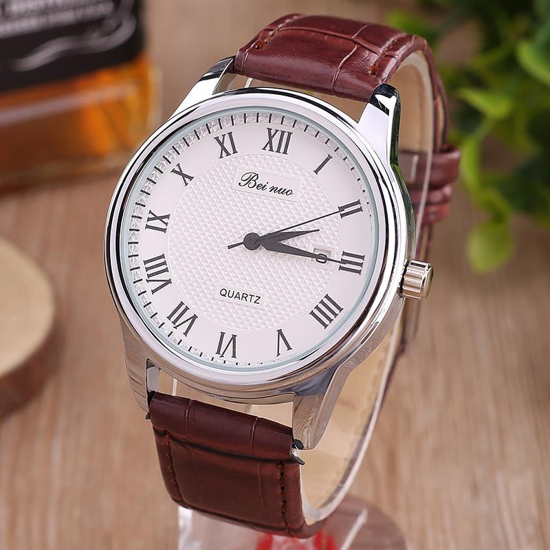 New High Grade Relogio Masculino Luxury Fashion Men Watch Men's PU Leather Business Quartz Watch Relojes Hombre