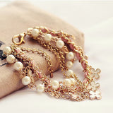 new Hot 1pc Fashion Four Leaf Clover Leather Rope Chain Pearl Bracelet Jewelry