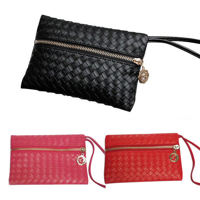 New Hot Fashion Women Leather Satchel Handbag Woven Clutch Zip Wallet Evening Bag