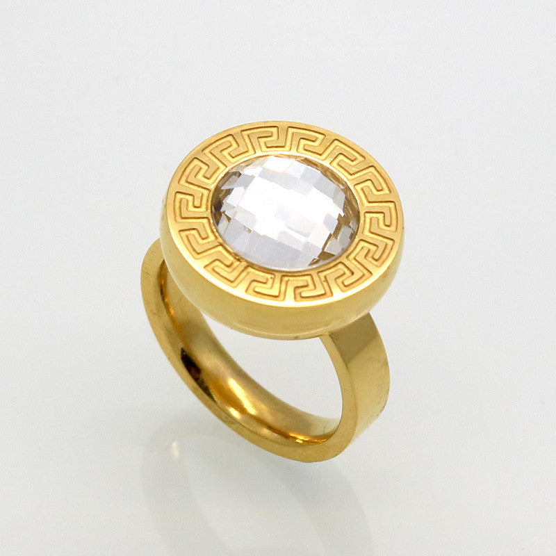 New Jewelry Brand Ring Vintage Retro Letter G Ring 18K Gold Plated SWA Elements Austrian Crystal Ring