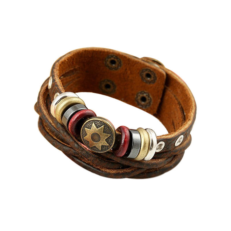 New Man Vintage Braided Leather Bracelet Punk Metal Star Pattern Rope Bracelets Hip-hop Multilayer Warp Bangle
