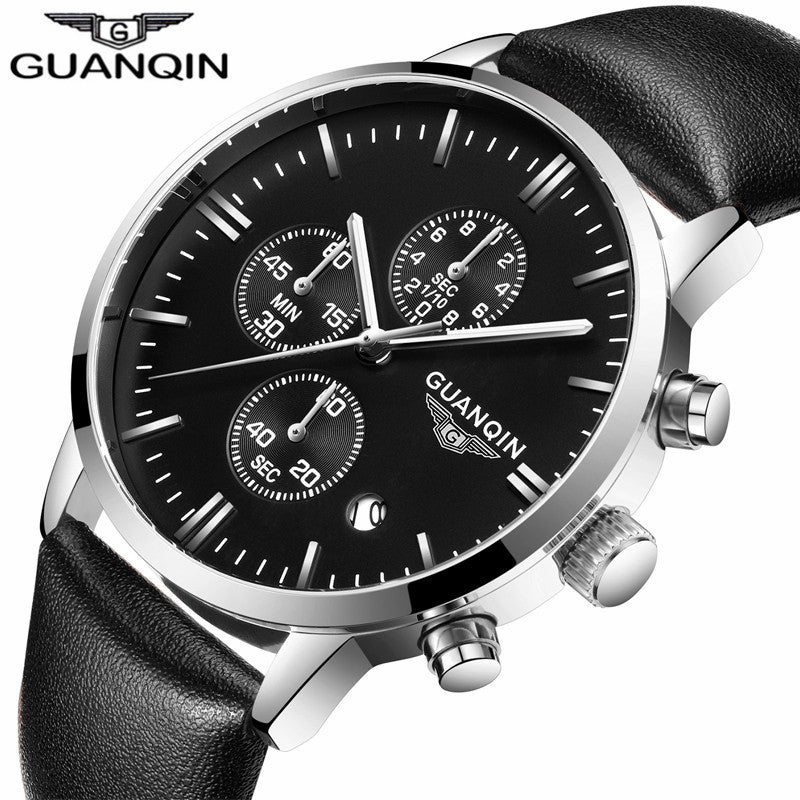 New Men's Watches New Fashion Luxury Top Brand GUANQIN Chronograph Male Dress Leather Belt Sports Clock Quartz Wrist Watches