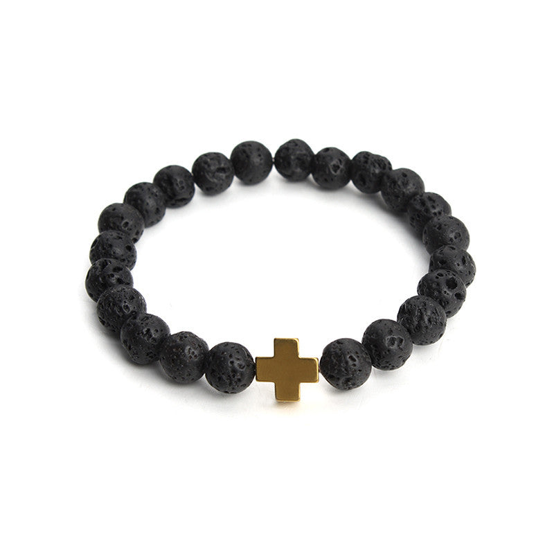 New Natural Black Lava Stone Beads Bracelet Fashion Men Hematite Beaded Cross Charm Bracelets Yoga Jewelry