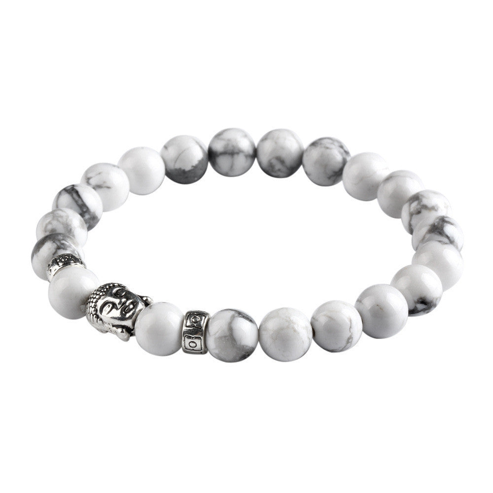 New Natural Stone bead Buddha Bracelets For Women and Men Silver Buddha White bracelet pulseras mujer Fine Jewelry