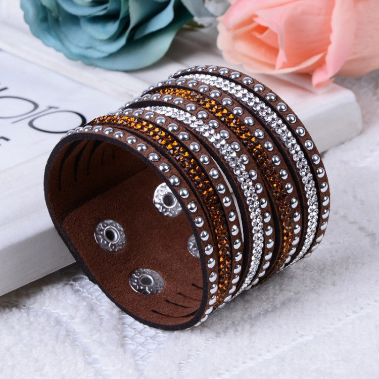 Fashion Charm Double Circle Multilayer Leather Bracelets Women Bracelets