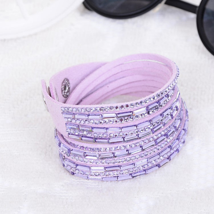 Fashion 12 Layer Leather Bracelet multicolor Charm Bracelets Bangles For Women Buttons Adjust Size