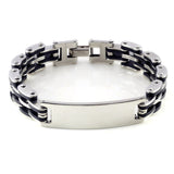 "New Silver Link Chain Rubber Stainless steel Men's Bracelet Wrist band 8.5"" Hot Charm Men Bangle Cuff  jewlery"