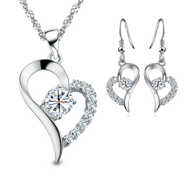 New Silver Plated Cubic Zirconial Heart Shape Fashion Costume Jewelry Sets for Women Wedding Necklace Earrings Sets