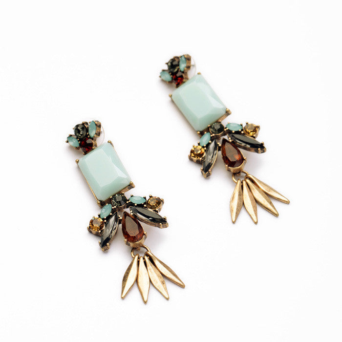 New Style Dress Match Hot Sale Resin Zinc Alloy Leaf Light Blue Moonstone Women Elegant Earring