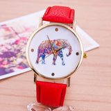 New Style Fashion Casual Watch Elephant Quartz Wristwatch PU Leather strap watch Women Relogio Clock hours gift