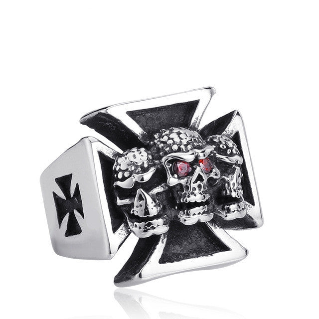 New Three Skull Iron Cross Ring For Men Red Stone Stainless Steel Men's Punk Rock Jewelry