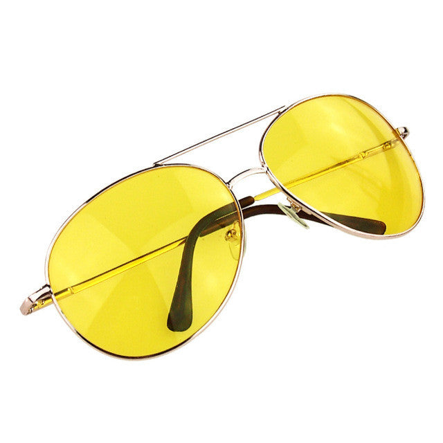 New Unisex Men Women Classic Gold Frame Night Vision Driving Frog Mirror Sunglasses