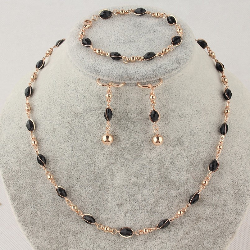 New Women/Girls Delightful Gift 14k Gold Filled Black Bead Necklace Bracelet Earrings Jewelry Set