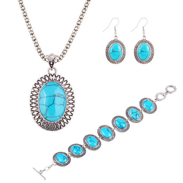 New Year's gift Fashion jewelry sets Vintage Bracelet Chain Round Pendant Necklace Turquoise gem Dangle Earrings women