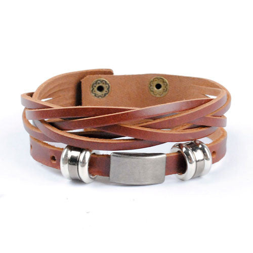 New arrival high quality brown and black leather wrap bracelet for men male jewelry cool stainless steel bracelet