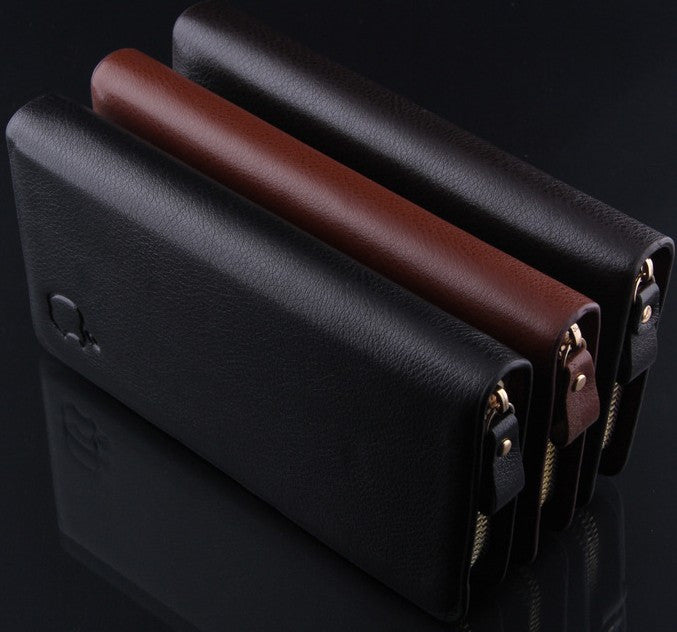 New brand genuine leather men's wallet clutch carteira money bags for men black coffee purse