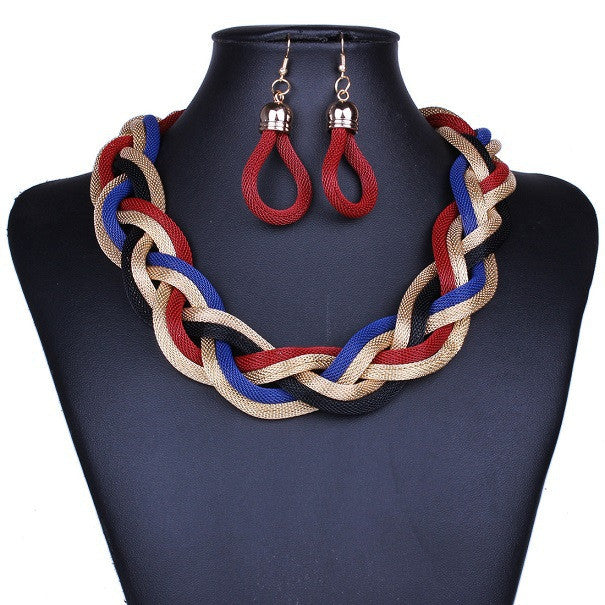 New fashion Bohemian Punk Fashion Colourful Statement Metal Braid Twist Chain necklaces & pendants woman's Necklace