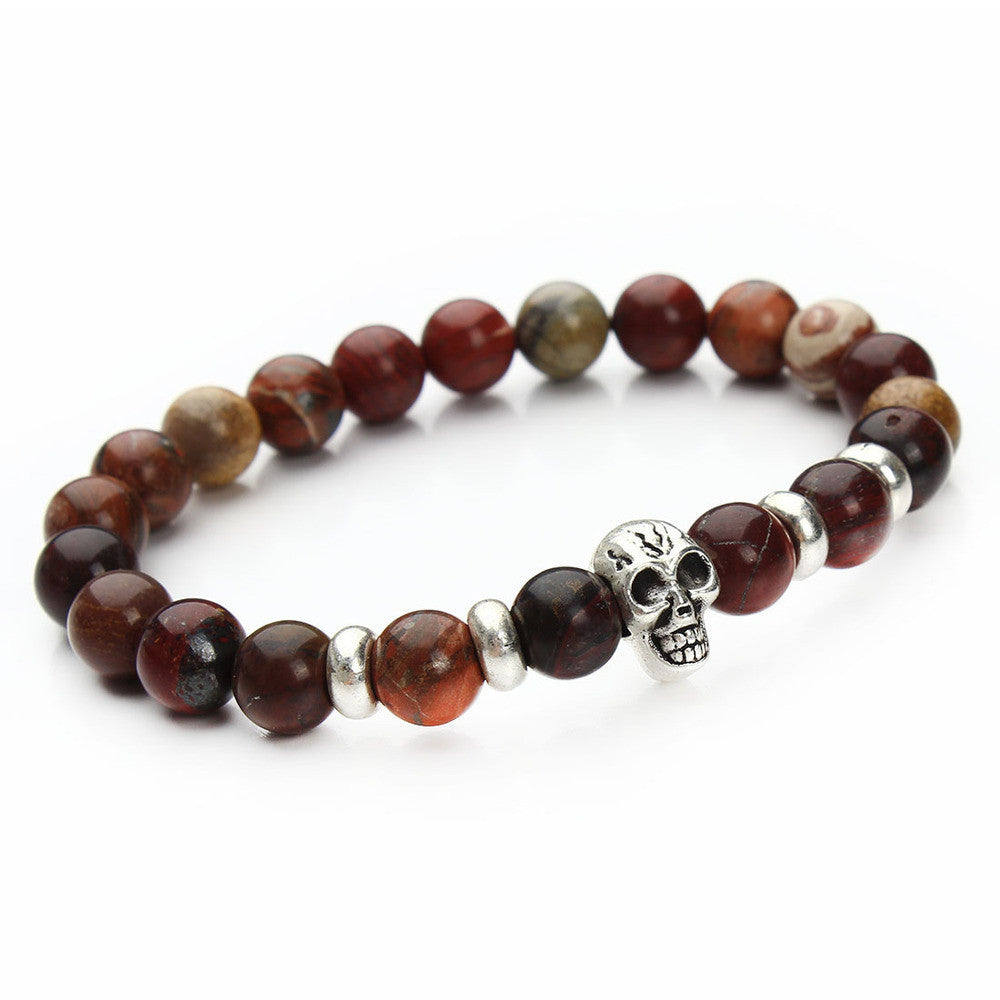 New fashion natural stones skull bracelet Lava stone beads and tiger eye stone beads men bracelet