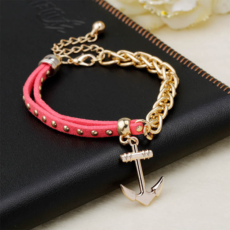 New gold chain Anchor bracelet leather bracelets pulsera ancla hot charm bracelet women pulseras mujer women jewelry