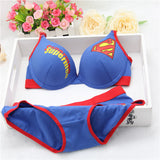 New sexy young girl bra set,Pure cotton material Superman bra,Brand Women underwear,bra brief sets,Intimates