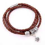 Newest Arrival Silver Charm Black Leather Wrap Bracelet for Women Five Colors Magnet Clasp Christmas Gift Jewelry