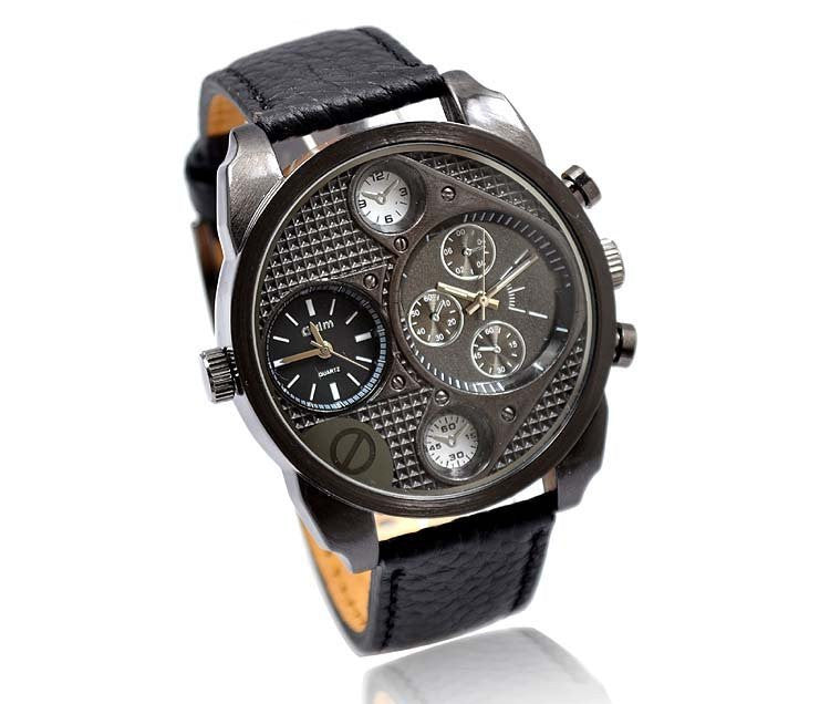 Oulm Double Time Show,Metal Dial Military Men Sports Business Watch ,Double Zone Time