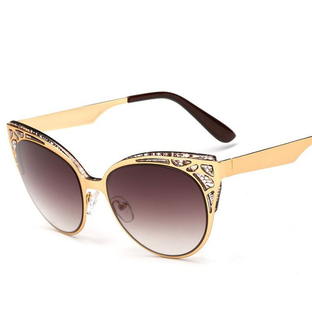 Newest Brand Cat Eye Sunglasses Women Hollow Metal Frame High Quality Sun Glasses Vintage Oculos UV400