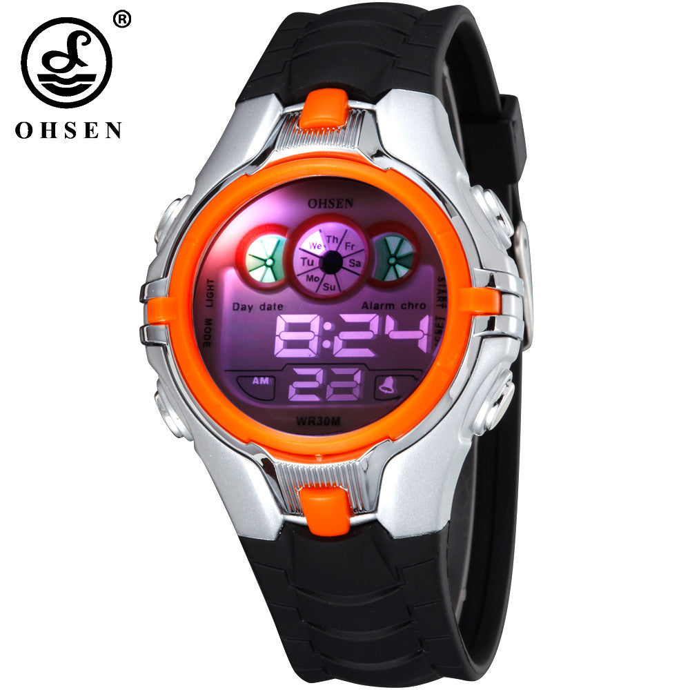 OHSEN Boys Kids Children Digital Sport Watch Alarm Date Chronograph LED Back Light Waterproof Wristwatch Student Clock