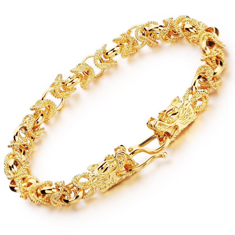 Charm Gold Plated Man Bracelets Vintage Dragon Head Style Chain & Link Men Bracelet Jewelry 22CM Long
