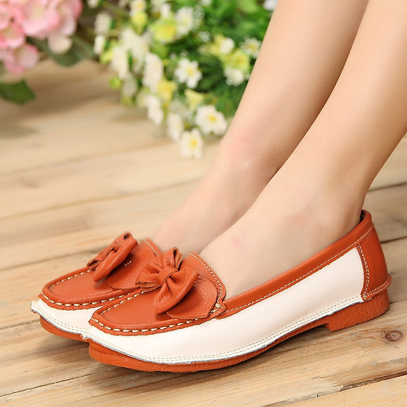 Women genuine leather shoes woman flat causal genuine leather loafer womens flats flexible boat shoes