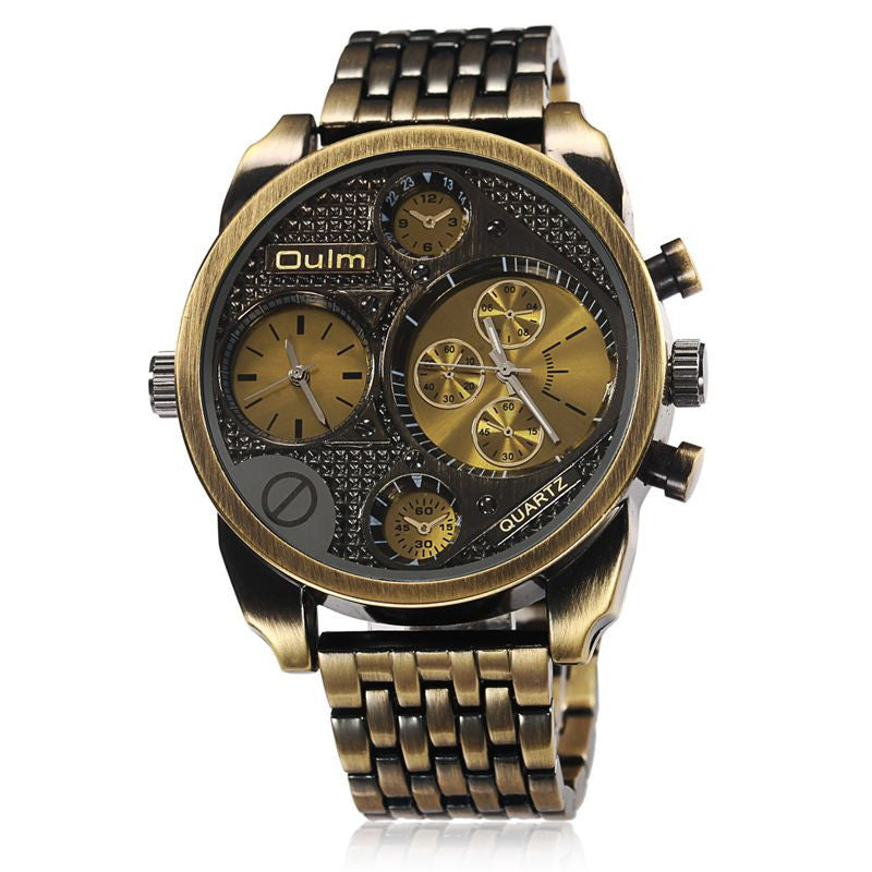 Luxury Brand Men Full Steel Watch Golden Big Size Antique Male Casual Watches Military Wristwatch