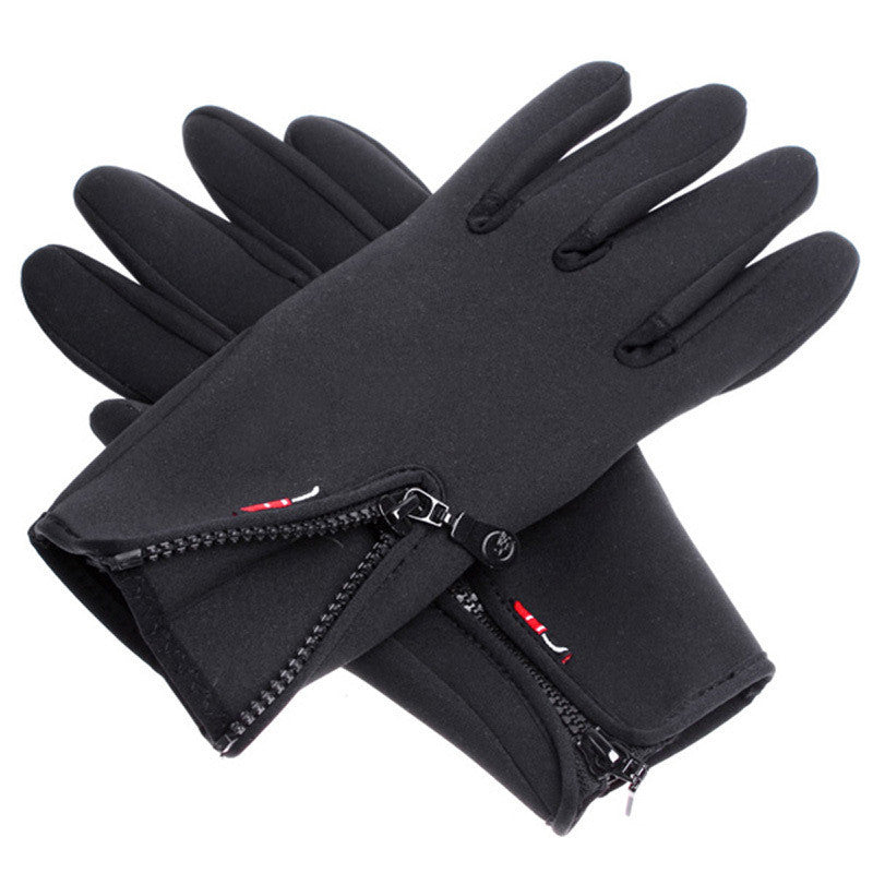 Outdoor Sports Winter Bicycle Bike Cycling Hiking Glove Windproof Simulated Leather Soft & Warm Gloves Black Size M/L/XL