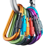 Outdoor multi colors Safety Buckle With Lock Aluminium Alloy Climbing Button Carabiner Camping Hiking Hook